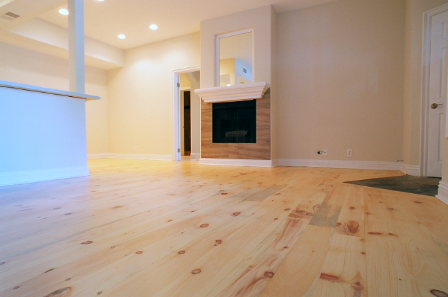 Aliso Viejo Wide Plank Pine Wood Floors Refinish